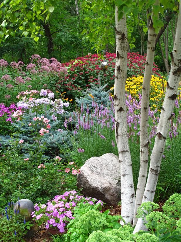Phlox, liatris, monarda, rudbeckia and joepye weed mix with blue spruce and birch. From Cottage Gardens We Love