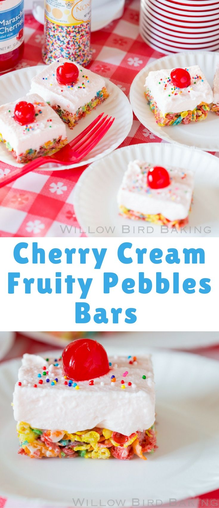 These Cherry Cream Fruity Pebbles Bars start with a marshmallow and Fruity Pebbles base. They're topped with a fluffy cloud of cherry mousse with a little boozy tailgating zing. Just leave out the alcohol if you're serving children.