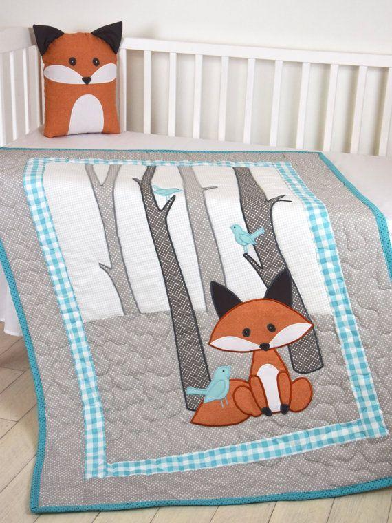 Couverture de Fox, pépinière gris bleu sarcelle, petit garçon Quilt, boisé literie pour berceau, couverture de forêt, fait sur commande                                                                                                                                                                                 Plus