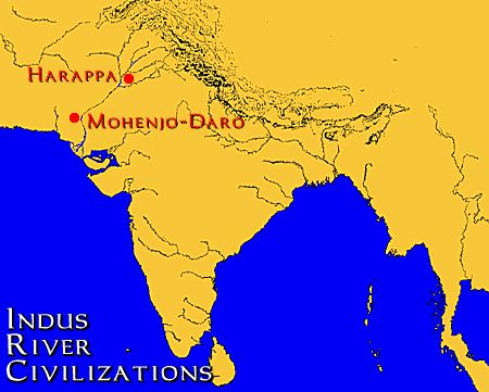 On this map, we can see the relation of Harappa, and Mohenjo Daro, the two major cities of the Indus River Valley Civilizations, two the Ganges and the Indus River. The two cities were formed around these two rivers, because they provided fertile soil for agriculture. The existence of the civilizations in the Indian subcontinent is almost entirely owed to these two rivers.