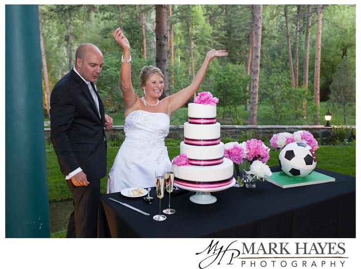 Soccer Themed Wedding Ideas: Wedding Cake And Soccer Ball Grooms Cake