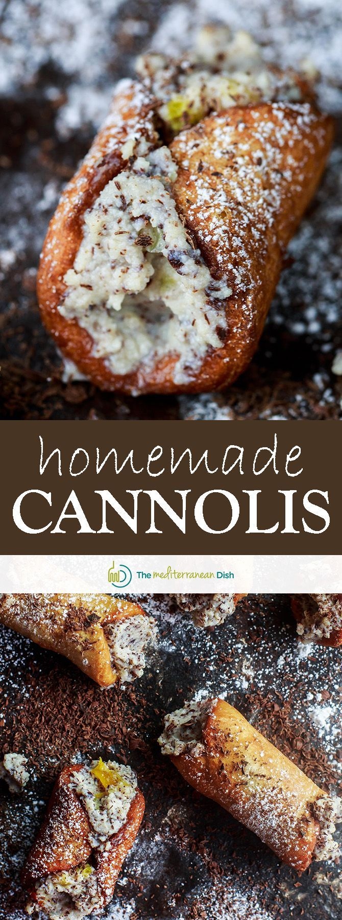 Cannoli Recipe (How to Make Cannolis) | The Mediterranean Dish. A foolproof recipe for Italian cannolis (shells and filling). Seriously dreamy, perfectly crisp shells filled with a ricotta and chocolate mixture. Tutorial with step-by-step photos included! See it today on TheMediterraneanDish.com