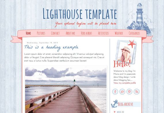 Responsive Blogger Template. Lighthouse template. Premade. Blog design. Cute nautical inspired template.