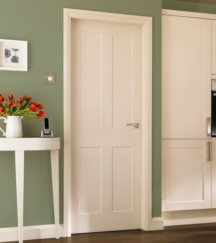 An elegantly simple four panel moulded door with clean lines is shown with matching Burford primed & The 21 best Howdens Doors images on Pinterest | 4 panel doors ...