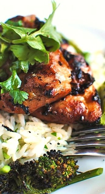 Grilled Hawaiian Chicken with Coconut Cilantro Rice