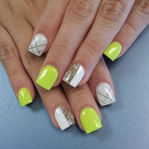 Lime, White, and Gold Glitter with Chevron Nail Art Design