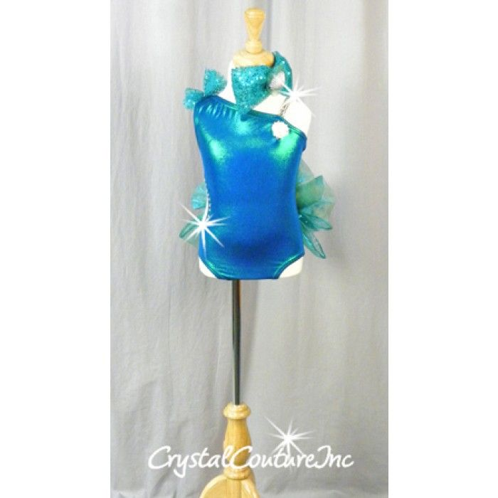 Encore Costume Couture |  Blue/Green Leotard with Attached Bustle - Swarovski Rhinestones - Size YS - Jazz - Costumes