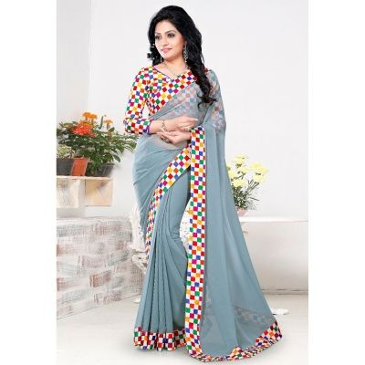 Lagoon Gray Georgette Designer Saree with Multy Color Raw Silk Blouse. It Contained the work of Printed with Lace Patti. The Blouse can be customized up to bust size 44