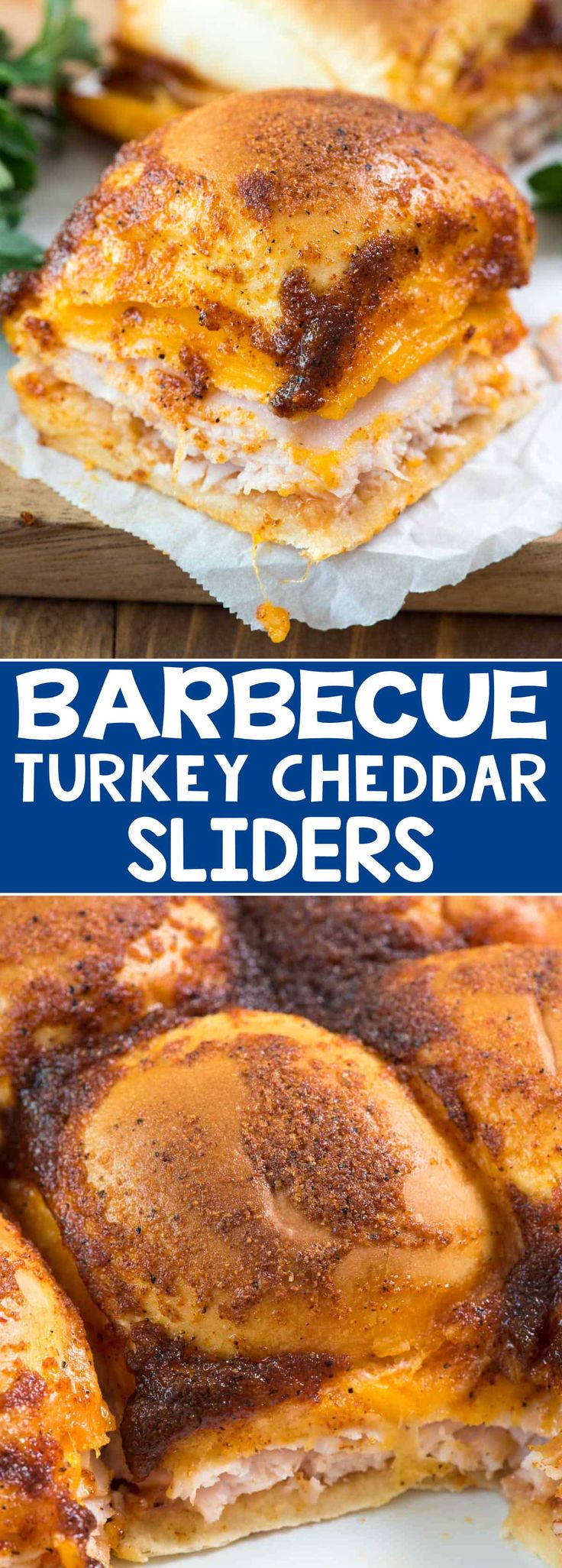 BBQ Turkey Cheddar Sliders - this easy slider recipe is full of turkey, cheese, and barbecue flavoring! The topping tastes JUST like a BBQ chip!