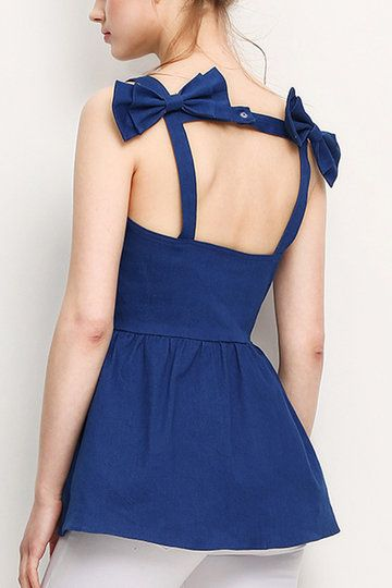 Backless Double Bowknot at Back Denim Cami Top