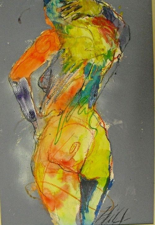 Artist: Liz Hill {contemporary figurative #expressionist discreet nude female posterior back behind woman mixed media painting} Colorful !!