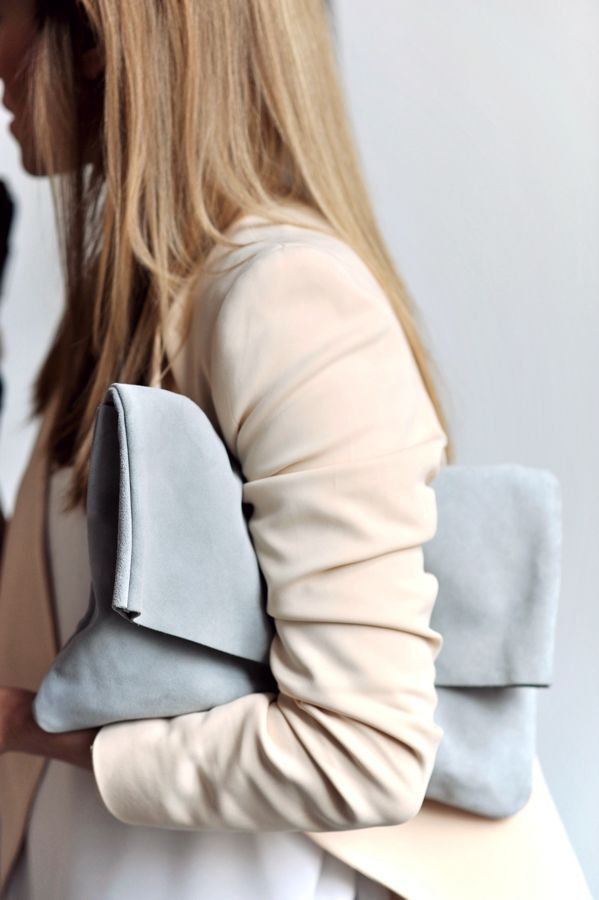 Fold-over suede clutch bag, chic minimal fashion details: