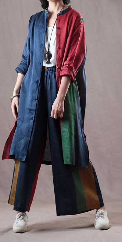 3a258d0af38 baggy blue red patchwork Midi linen coat Loose fitting shirts with elastic  waist trousers vintage two pieces