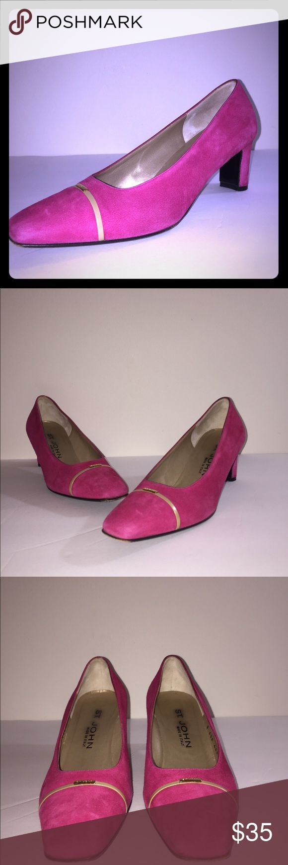 St John pink suede heel size 6.5 A worn but well taken care of pair of heels from knitwear designer St. John. Perfect for the office or a luncheon. Size 6.5. St. John Shoes Heels