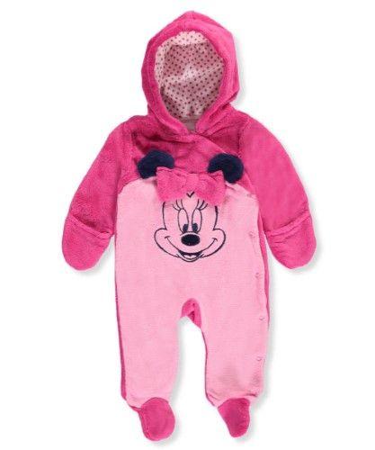 f5b834133 Disney Infant Girls Plush 2 Tone Pink Minnie Mouse Pram Suit Baby Bunting