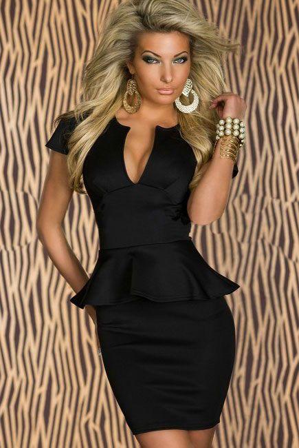 Classy Black Peplum Dress