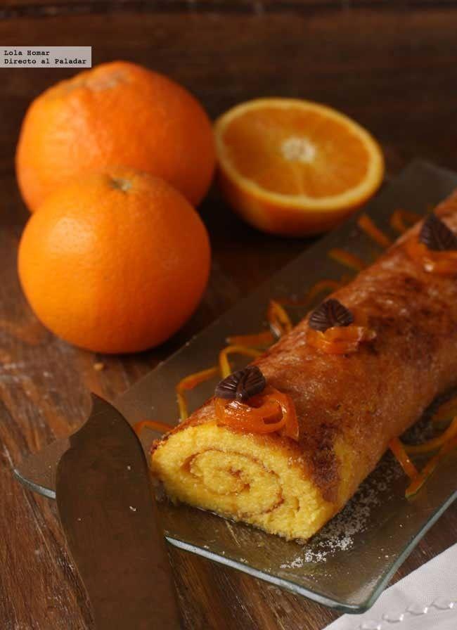 brazo de naranja / •8 huevos, 300g de azúcar, 180-200ml de zumo de naranja, ralladura de la piel de dos naranjas, 20g de harina (una cucharada sopera), 80 g de mantequilla, más azúcar para espolvorear