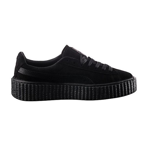 Puma PUMA BY RIHANNA MEN'S BLACK SATIN CREEPER ($140) ❤ liked on Polyvore featuring shoes, black platform shoes, lace up shoes, platform shoes, laced up shoes and punk shoes