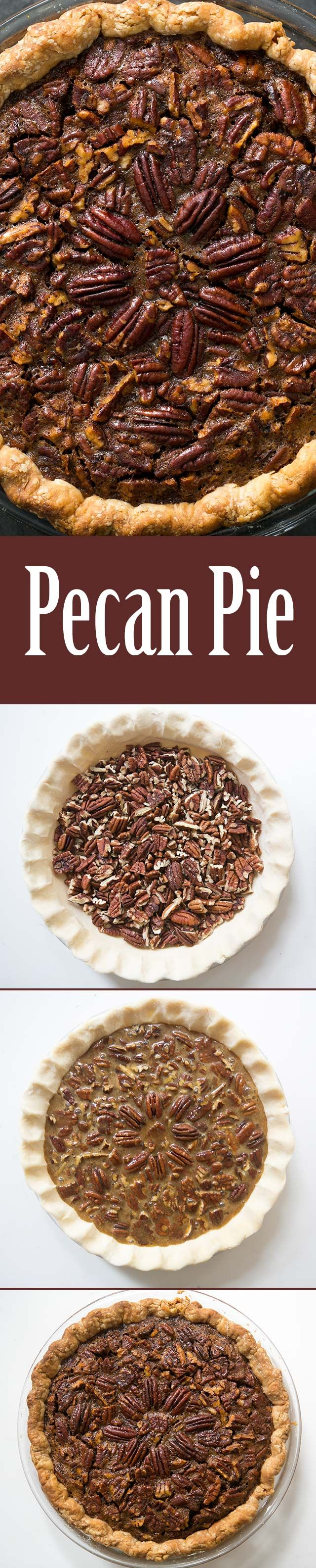 Pecan Pie ~ Traditional pecan pie with fresh pecans, molasses, corn syrup, brown sugar, and eggs. Perfect for Thanksgiving! ~ SimplyRecipes.com