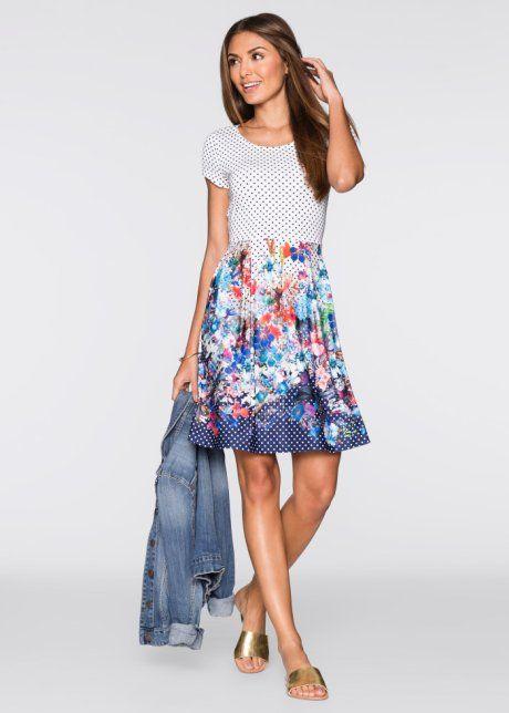Kleid mit Punkte- und Blumendruck | Kleider, Modestil ...
