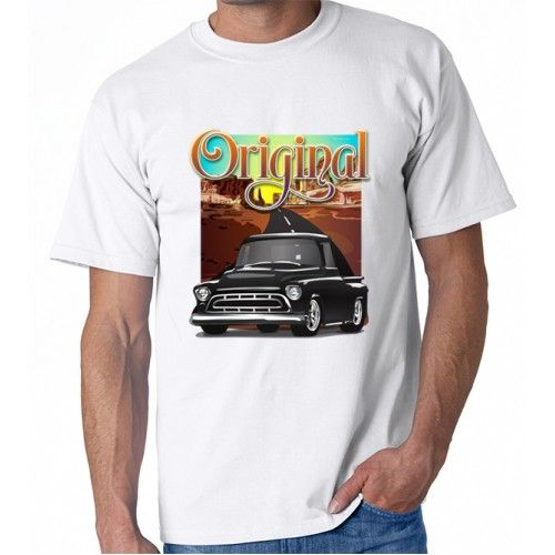 Black 1957 Chevy Pickup Truck Original Printed Cotton T-shirt