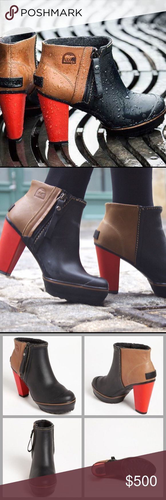 """❤️Sorel Rain Boots❤️ I keep changing my mind on selling these, I love them so much! They have been worn but are still in good condition. I will only consider reasonable offers through the offer button, NO TRADES!    Bold color blocking and a ladylike heel boost the street-smart appeal of an essential puddle-proof boot.   4"""" heel; 1"""" platform. 7"""" boot shaft. Side zip closure. Waterproof. Vulcanized rubber and full-grain leather upper/Lycra® spandex lining/rubber sole. Sorel Shoes Winter…"""