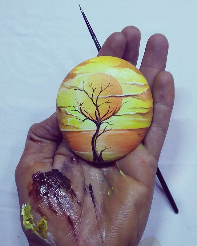 Sunset tree painting on a rock!