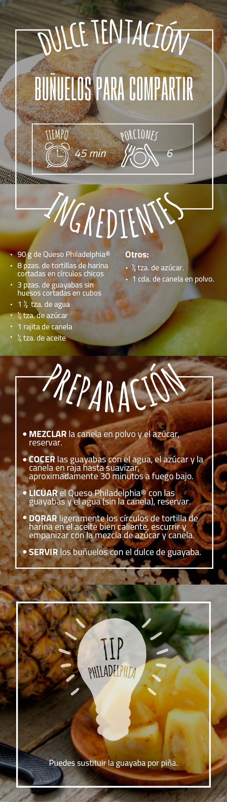 Los mejores momentos siempre van acompañados de delicias caseras.     #Buñuelo #PostrePhiladelphia #QuesoPhiladelphia #PineaAquí #BuñuelosParaCompartir