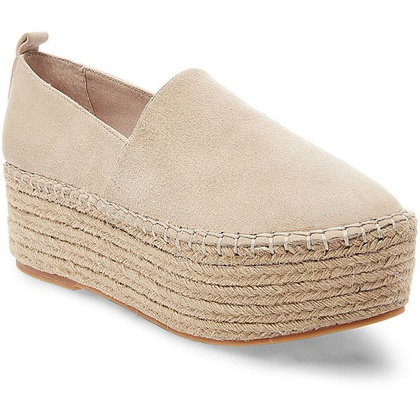 Steve Madden Drill Slip On Sneakers ($90) ❤ liked on Polyvore featuring shoes, sneakers, camel suede, slip on espadrilles, platform sneakers, platform slip on shoes, platform trainers and platform espadrilles