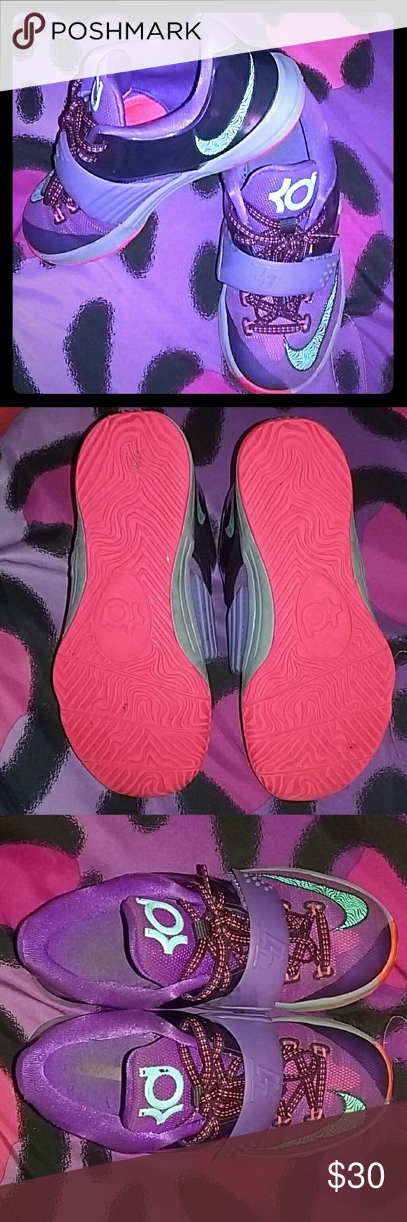 Girls Kevin Durant sneakers Purple/Blue/Gray/Coral Nike Kevin Durant sneakers, girls size 13c, in really good condition, worn a couple times. Nike Shoes Sneakers