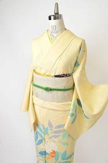 黒地にラメ糸きらめく柊の葉ロマンチックな紗の夏着物 – アンティーク着物・リサイクル着物のオンラインショップ 姉妹屋