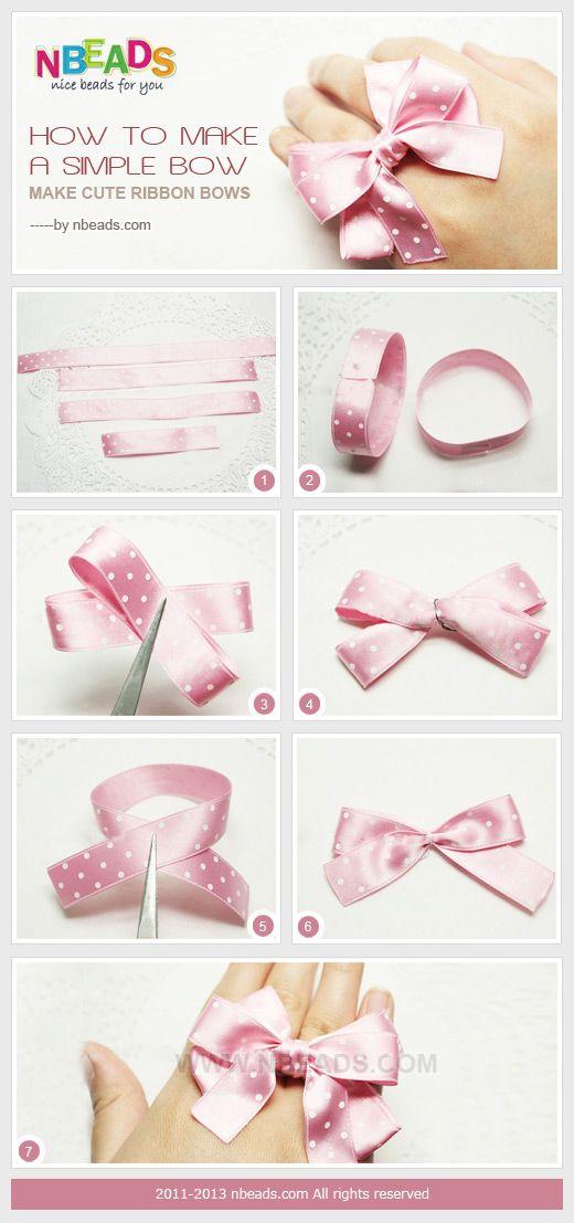 how to make a simple bow - make cute ribbon bows