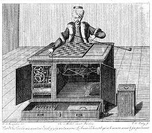 """The Turk, also known as the Mechanical Turk or Automaton Chess Player (German: Schachtürke, """"chess Turk""""' Hungarian: A Török), was a fake chess-playing machine constructed in the late 18th century. From 1770 until its destruction by fire in 1854, it was exhibited by various owners as an automaton, though it was exposed in the early 1820s as an elaborate hoax."""