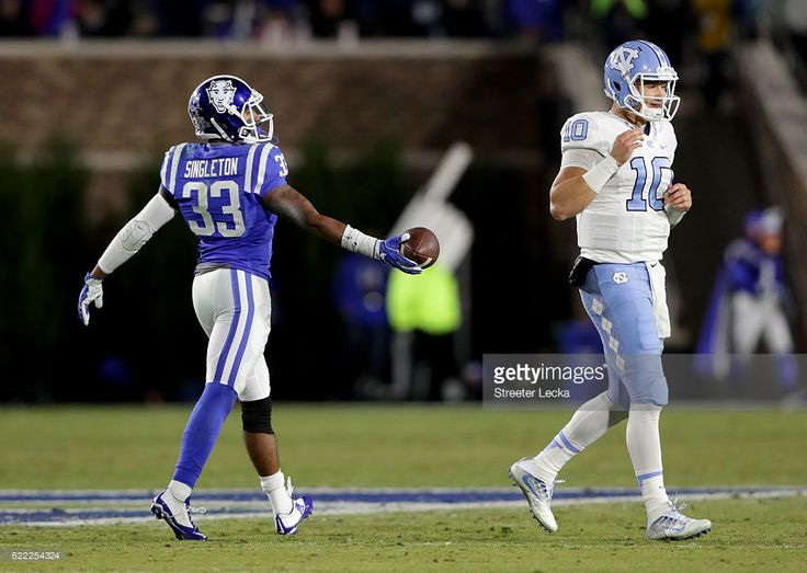 Deondre Singleton #33 of the Duke Blue Devils reacts after intercepting a pass from Mitch Trubisky #10 of the North Carolina Tar Heels during their game at Wallace Wade Stadium on November 10, 2016 in Durham, North Carolina.