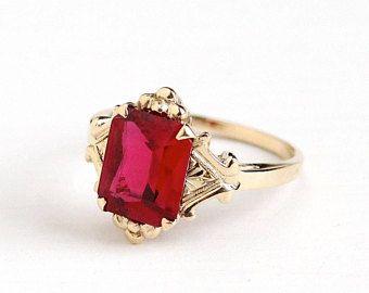 Venta  Vintage 10k oro blanco Art Deco creado anillo de