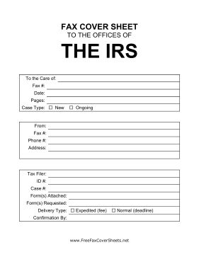 Great for requesting or sending tax documents quickly, this fax cover sheet can be used for contacting the Internal Revenue Service. Free to download and print