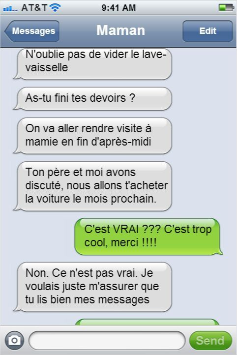 Les textos entre les parents et leurs enfants les plus drôles qui aient jamais été envoyés. Du génie !: