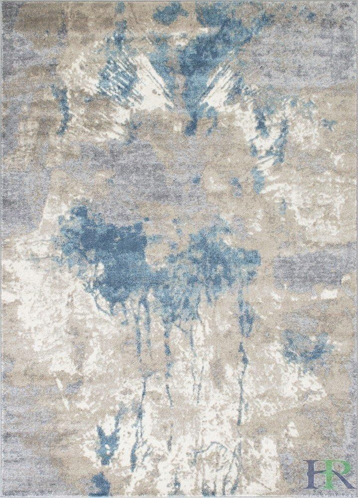 Silver Ash Gray Ivory Ocean Blue Faded Distressed Area Rug Modern Waterfall Abstract Rug
