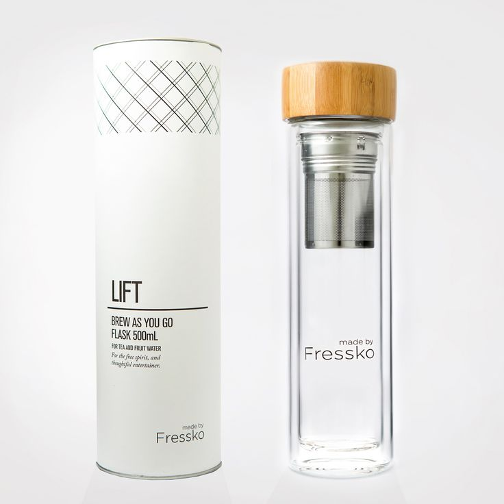 Fressko LIFT 500ml Glass Water Bottle includes a 2-in-1 Infuser. The perfect companion for creating your favorite fruit-water, tea, coffee, on the go.