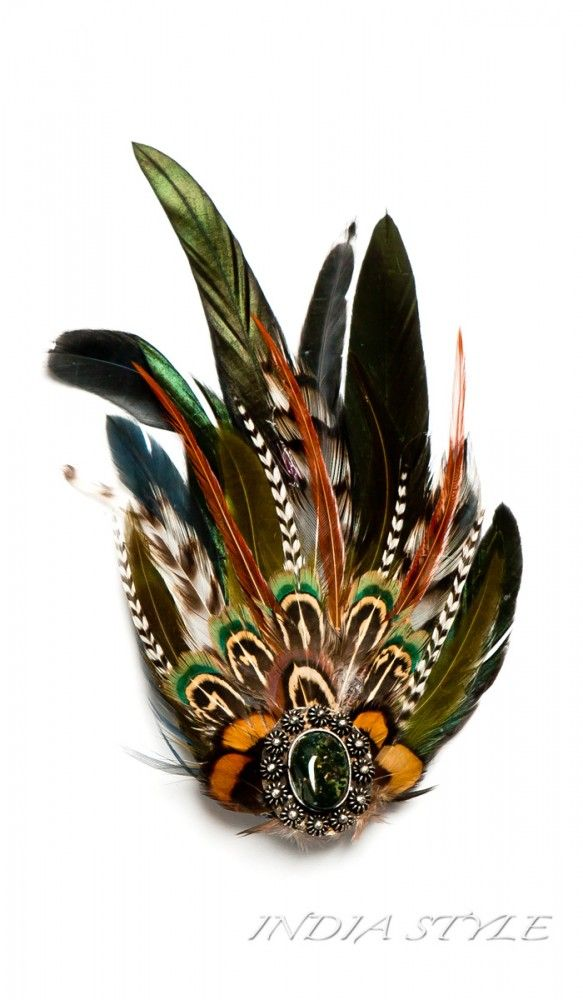 Заколки для волос с перьями, стиль хиппи hippie style jewellry  2540 рублей http://indiastyle.ru/products/zakolka-zelenaya-3361