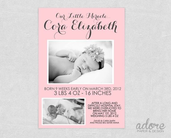 9 best Preemie Birth Announcements images – Preemie Birth Announcements