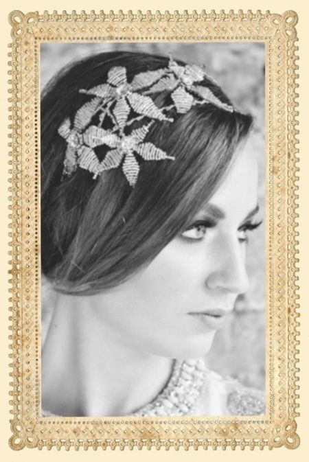 Grecian inspired wedding head band http://www.staceyhannandesigns.com/large-double-band-star-flower-wedding-headband/