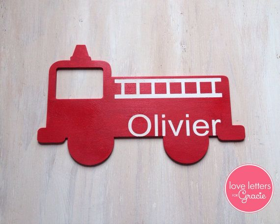 Wood Fire Truck Sign with Name