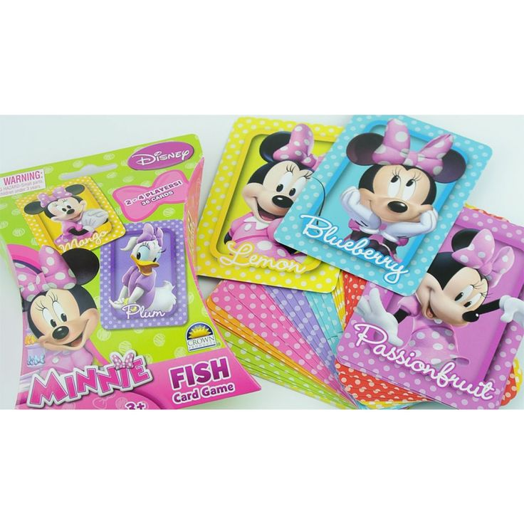 Minnie Fish Card Game featuring Minnie in polka dots and her best friend, Daisy Duck on a beautiful series of rainbow colored playing cards. Visit Funstra for the Minnie Mouse Snap and more Minnie Mouse toys, games and bedding available at Funstra. #minniemouse #minnie #toys #games