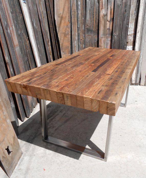 Custom Outdoor  Indoor Exposed Edge Rustic Industrial Reclaimed Wood Dining  Table   CoffeeTable Made To Order. Best 25  Reclaimed wood dining table ideas on Pinterest   Rustic
