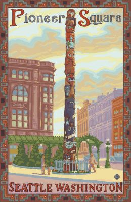 Pioneer Square Totempole Seattle WA Travel Poster - Aaron Morris