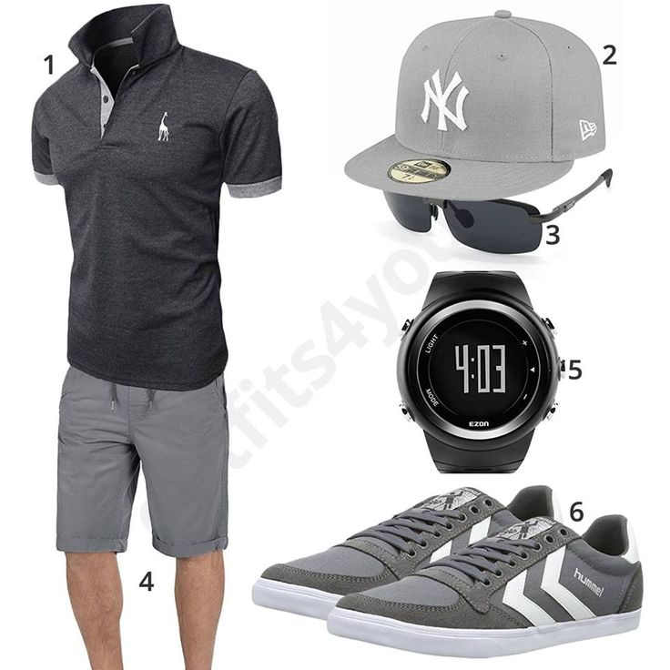 graues herren outfit mit poloshirt und shorts m0448 outfit style fashion menswear. Black Bedroom Furniture Sets. Home Design Ideas