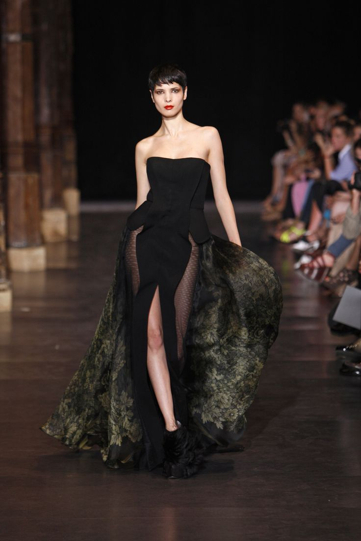 Floor length strapless couture gown