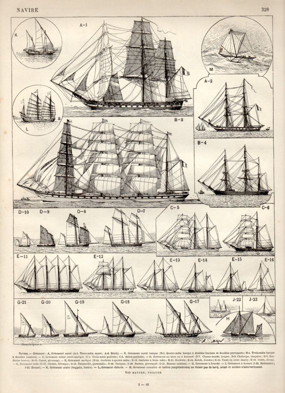 Old Ships Antique Print 1897 Vintage Lithograph by Craftissimo, €12.00