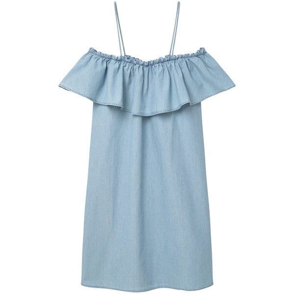 Frilled Denim Dress (£36) ❤ liked on Polyvore featuring dresses, off the shoulder frill dress, denim dress, ruffle dress, strap dress and mango dresses
